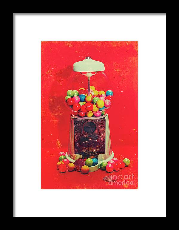 Retro Framed Print featuring the photograph Vintage Candy Store Gum Ball Machine by Jorgo Photography - Wall Art Gallery