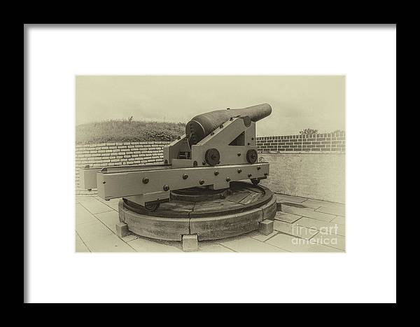 Cannon Framed Print featuring the photograph Vintage Cannon At Fort Moultrie by Dale Powell