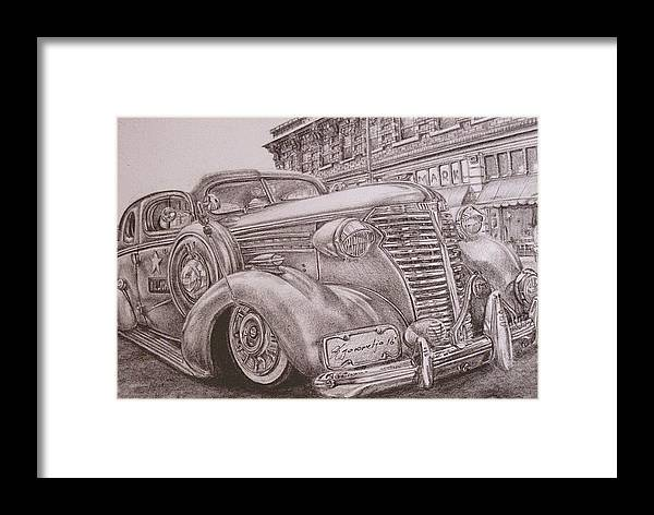 Car Framed Print featuring the drawing Vintage Car On The Street by Kgorometja Mokholoane