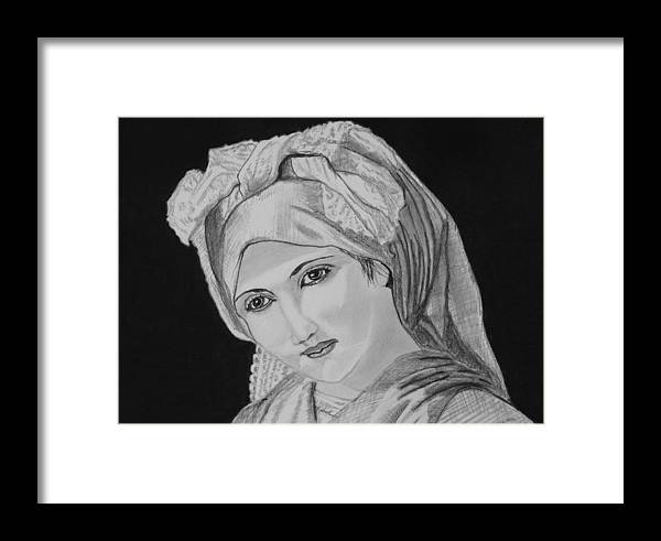 Woman Girl Beautiful Lady Country Innocent Vintage Framed Print featuring the drawing Vintage Country Girl by Cathy Jourdan