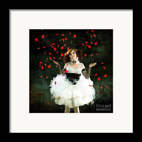 Rose Framed Print featuring the photograph Vintage Dancer Series Raining Rose Petals by Cindy Singleton