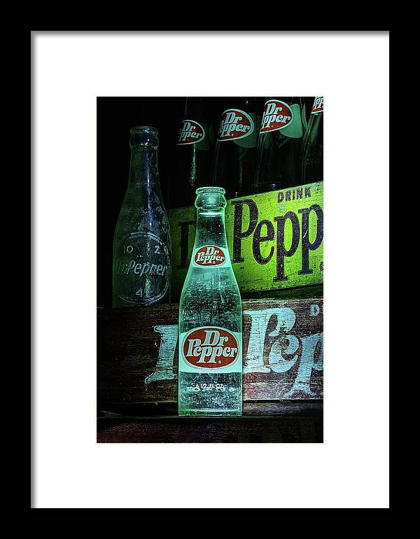 Dr Pepper Framed Print featuring the photograph Vintage Dr Pepper Bottles by JC Findley