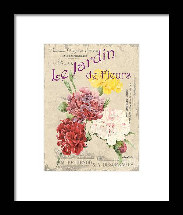 Floral Framed Print featuring the painting Vintage French Flower Shop 4 by Debbie DeWitt