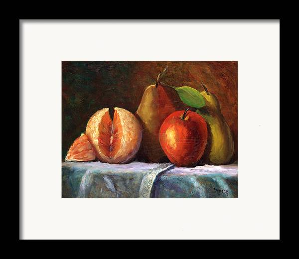 Fruit Painting Framed Print featuring the painting Vintage-fruit by Linda Hiller