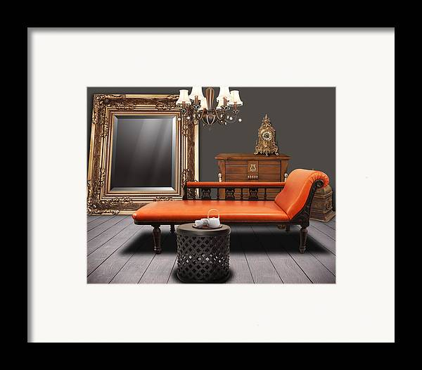 Apartment Framed Print featuring the mixed media Vintage Furnitures by Atiketta Sangasaeng
