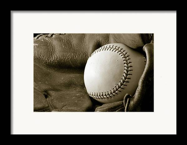 Baseball Framed Print featuring the photograph Vintage Glove by Shawn Wood