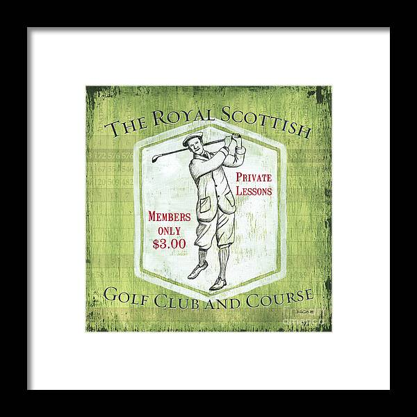 Golf Framed Print featuring the painting Vintage Golf Green 1 by Debbie DeWitt
