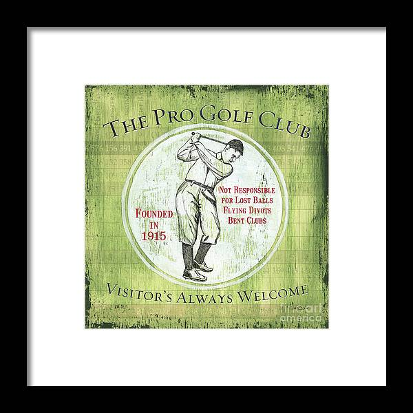Golf Framed Print featuring the painting Vintage Golf Green 2 by Debbie DeWitt