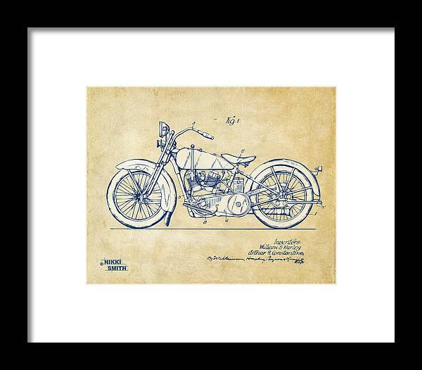 ce9f9fc9 Vintage Harley-davidson Motorcycle 1928 Patent Artwork Framed Print by Nikki  Smith