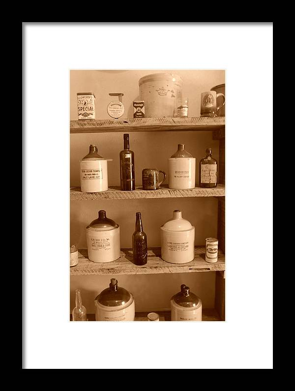 Sepia Photographs Framed Print featuring the photograph Vintage Jugs by Dennis Hammer