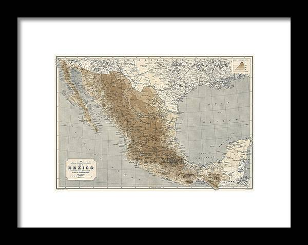Vintage Map Of Mexico - 1911 - National Geographic Framed Print by on