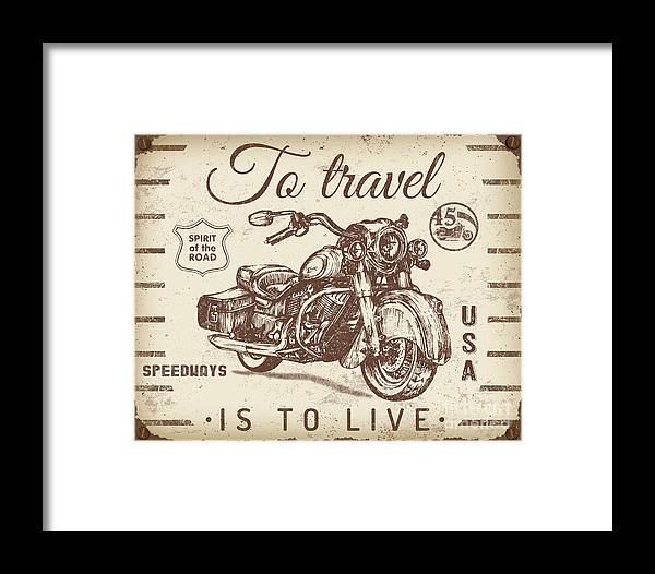 Man Cave Framed Print featuring the digital art Vintage Motorcycling Mancave-a by Jean Plout