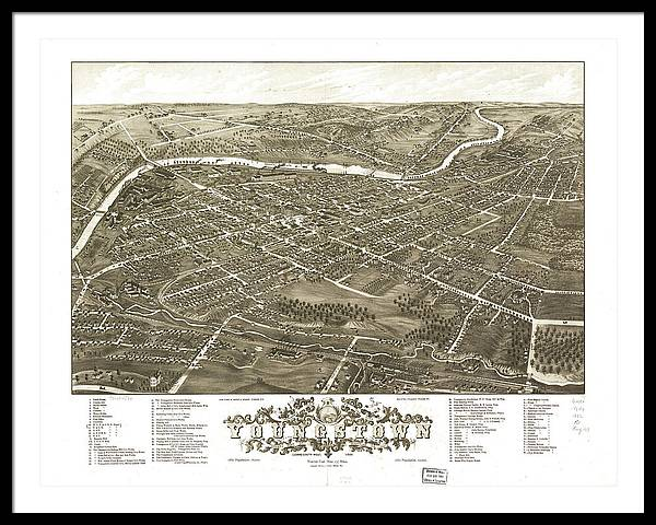 Vintage Pictorial Map of Youngstown Ohio - 1883 by CartographyAssociates