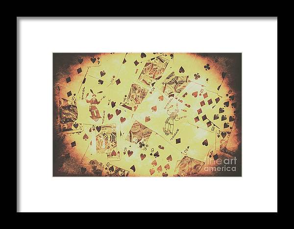 Poker Framed Print featuring the photograph Vintage Poker Card Background by Jorgo Photography - Wall Art Gallery