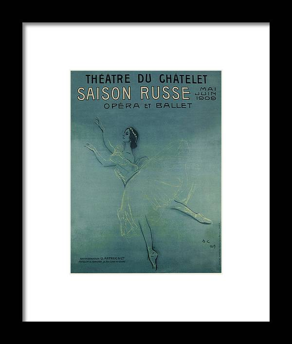 Advertisement Framed Print featuring the painting Vintage Poster - Saison Russe by Vintage Images