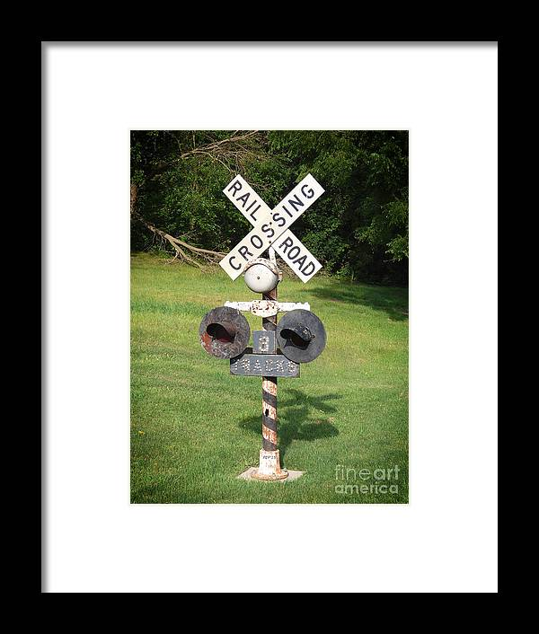 Railroad Framed Print featuring the photograph Vintage Railroad Crossing Sign by Phil Perkins