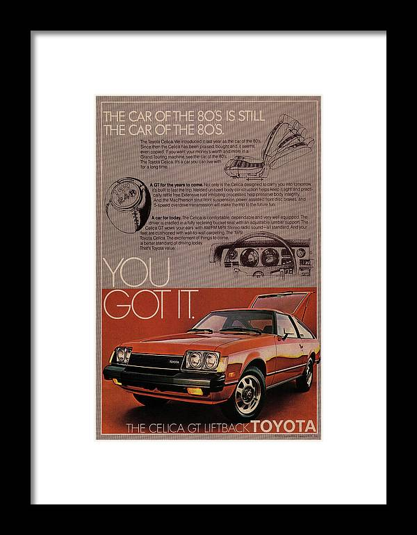 Vintage Framed Print featuring the mixed media Vintage Toyota Celica Car Poster by Design Turnpike