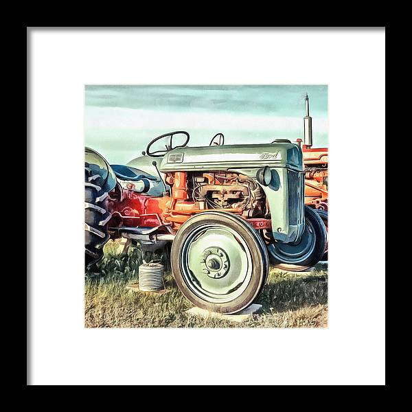 Painting Framed Print featuring the painting Vintage Tractors PEI Square by Edward Fielding