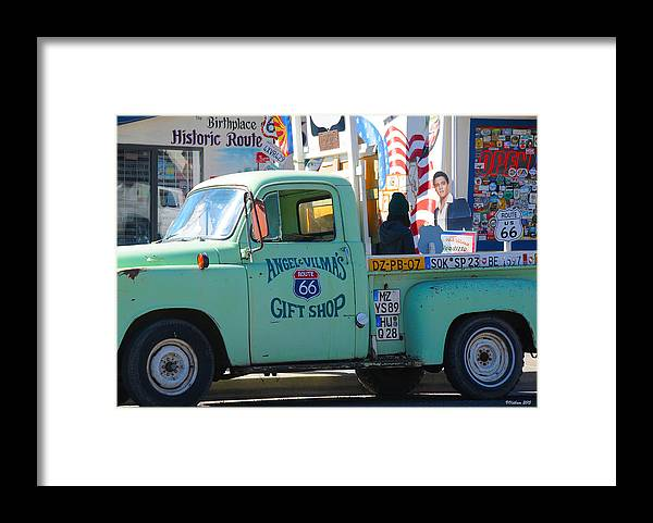 Gift Shop Framed Print featuring the photograph Vintage Truck with Elvis on Historic Route 66 by Victoria Oldham