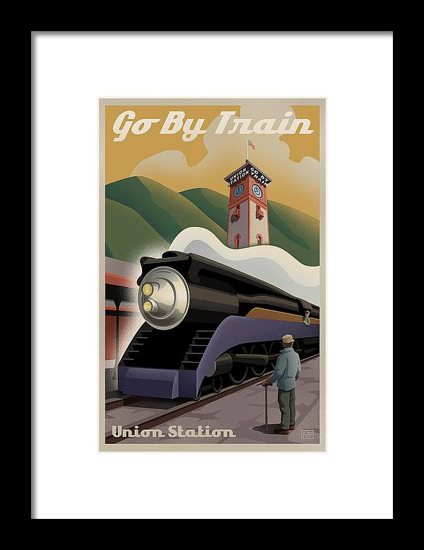 Union Station Framed Print featuring the digital art Vintage Union Station Train Poster by Mitch Frey