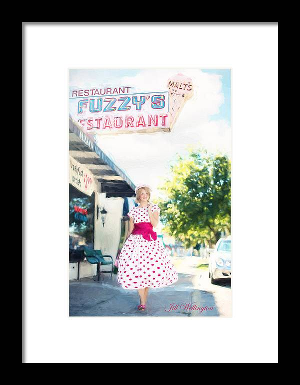 Vintage Val Framed Print featuring the digital art Vintage Val Ice Cream Parlor by Jill Wellington