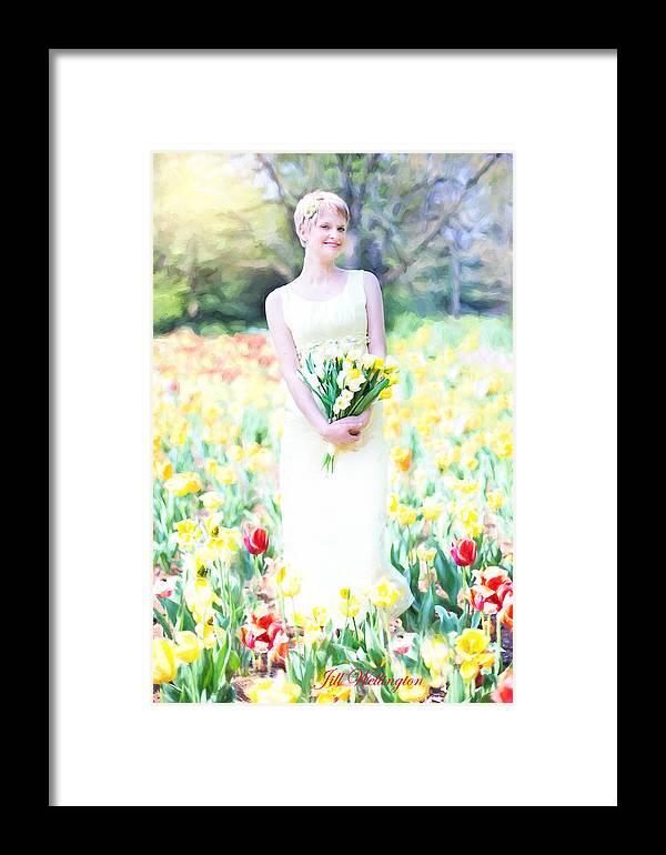 Vintage Val Framed Print featuring the digital art Vintage Val Spring Tulips by Jill Wellington
