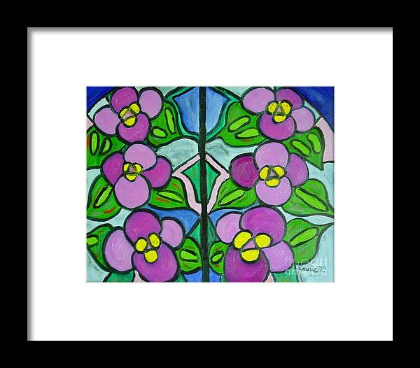 Violets Framed Print featuring the painting Vintage Violets by Laurie Morgan