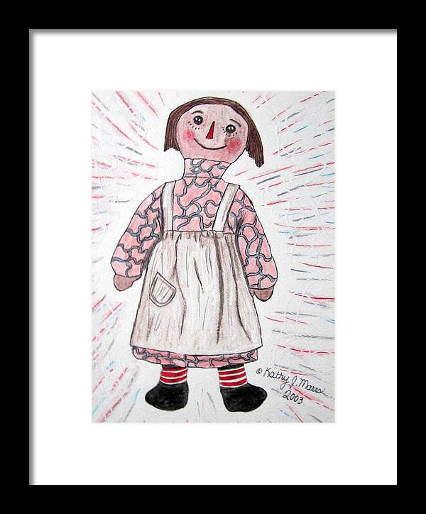 Vintage Framed Print featuring the painting Vintage Volland Raggedy Ann Cloth Doll by Kathy Marrs Chandler