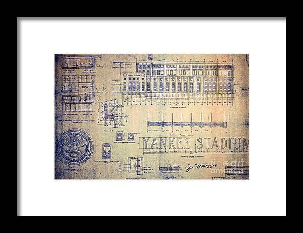Joe Dimaggio Framed Print featuring the drawing Vintage Yankee Stadium Blueprint by Peter Ogden Gallery
