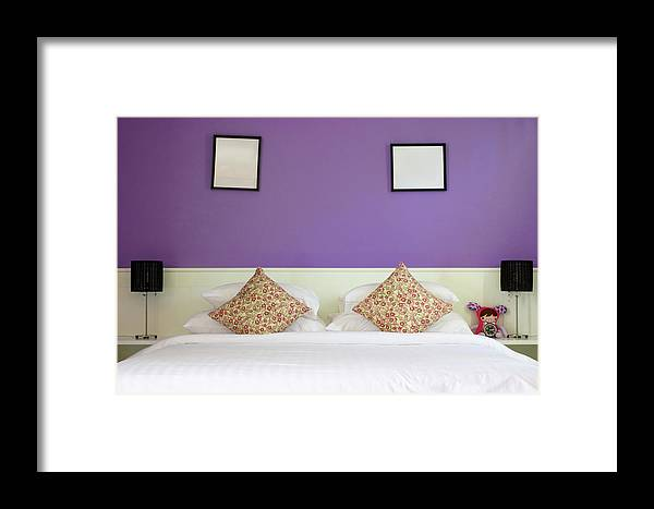 Decorating Framed Print featuring the photograph Violet Bedroom by Jirawat Cheepsumol