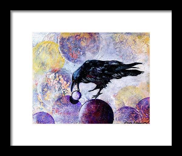 Raven Framed Print featuring the painting Violet-velvet Lining by Sandy Applegate