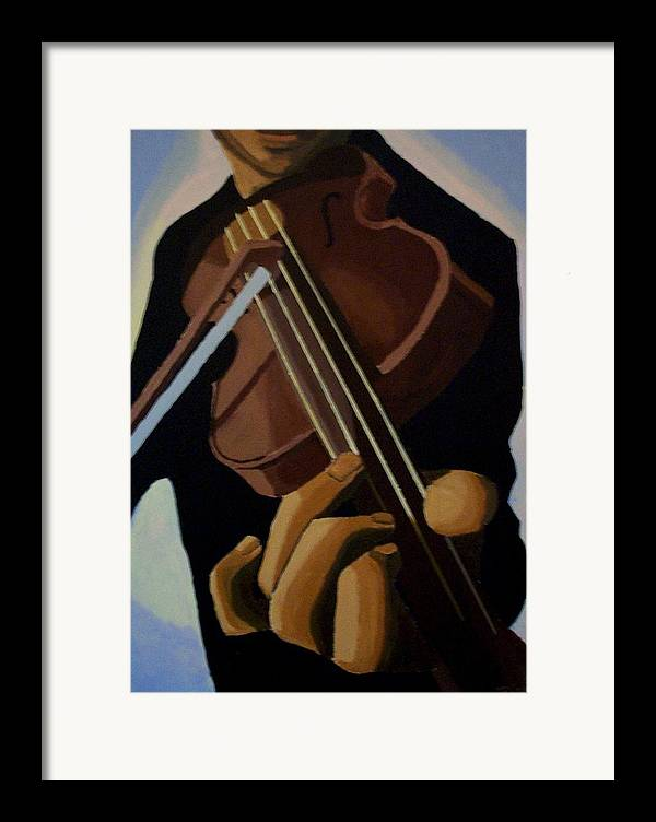 Portrait Framed Print featuring the painting Violin Player by Mats Eriksson