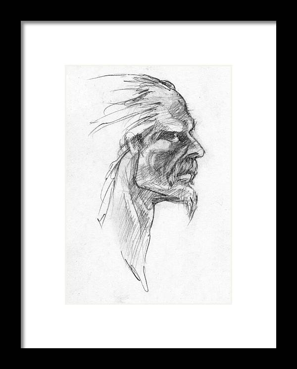 Celtic Framed Print featuring the drawing Vircingetorix by Scott Waters
