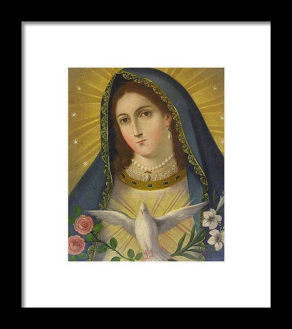 Religion Framed Print featuring the painting Virgen De La Paloma by Unknown