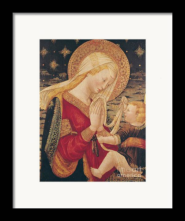 Virgin And Child (tempera On Panel) By Neri Di Bicci (1419-91) Framed Print featuring the painting Virgin And Child by Neri di Bicci