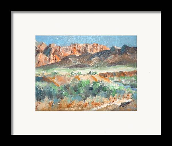 Landscape At First Light Virgin River Gorge Mesquite Framed Print featuring the painting Virgin River Gorge by Bryan Alexander