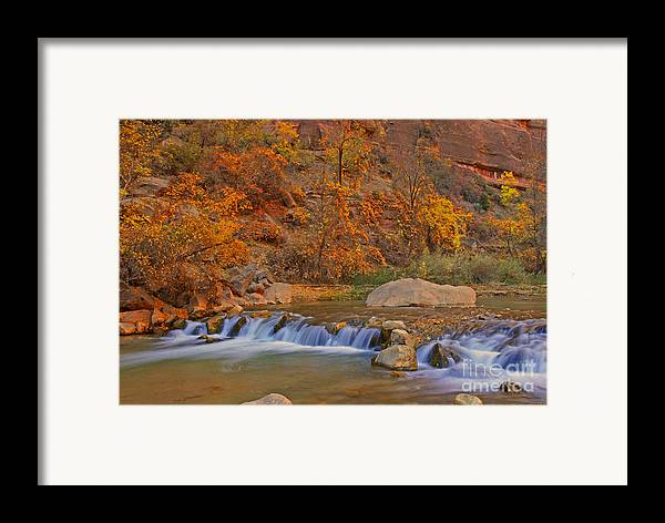 Utah Framed Print featuring the photograph Virgin River In Autumn by Dennis Hammer