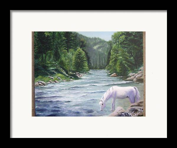 Landscape Framed Print featuring the painting Virgin River by KC Knight