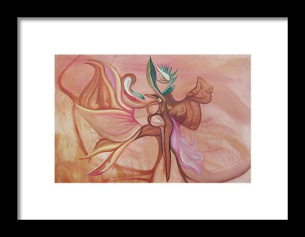 Woman Framed Print featuring the painting Virtue Of Woman by MandyCka Johnson