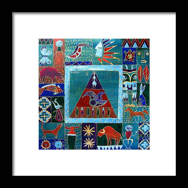 Native Framed Print featuring the painting Vision Of Native North America by Aliza Souleyeva-Alexander