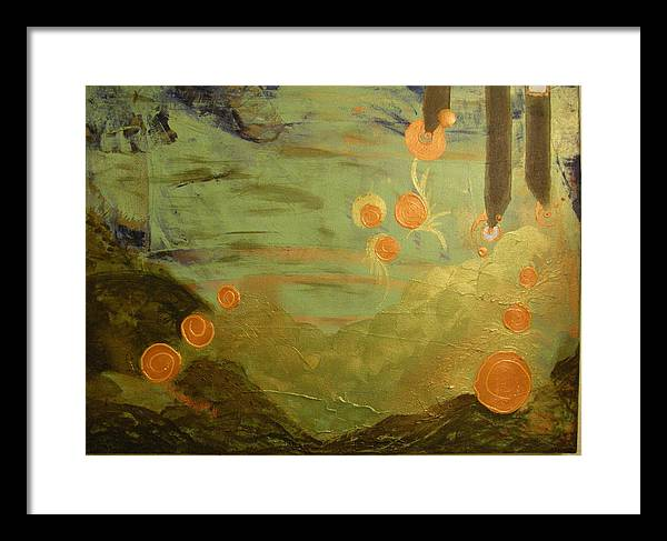 Abstract Framed Print featuring the painting Visions In My Soul by Seemoy Law-Hugh