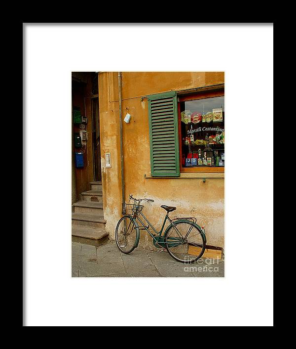 Bicycle Framed Print featuring the photograph Visions Of Italy 4 by Nancy Bradley