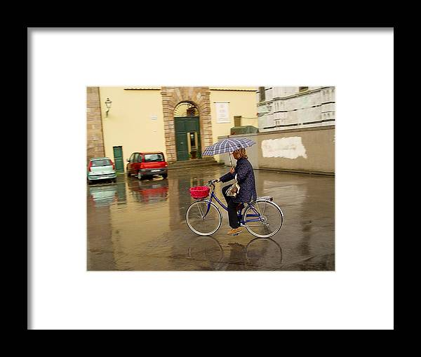 Lady On Bicycle Framed Print featuring the photograph Visions Of Italy Lucca by Nancy Bradley