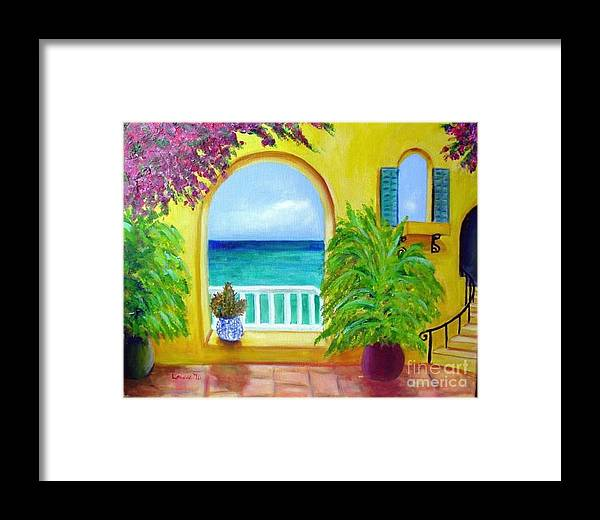 Patio Framed Print featuring the painting Vista Del Agua by Laurie Morgan