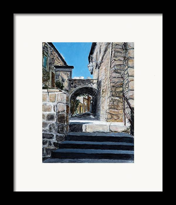 Italy Town Archway Steps Indigo Walls Blue Framed Print featuring the painting Viterbo Archway by Joan De Bot