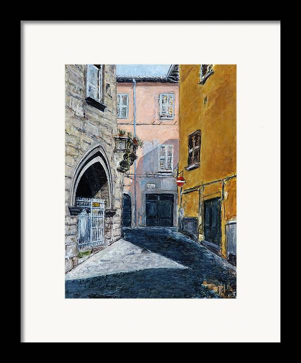 Italy Town Ochre Wall Church Shadow Balcony Pink Indigo Framed Print featuring the painting Viterbo Church by Joan De Bot