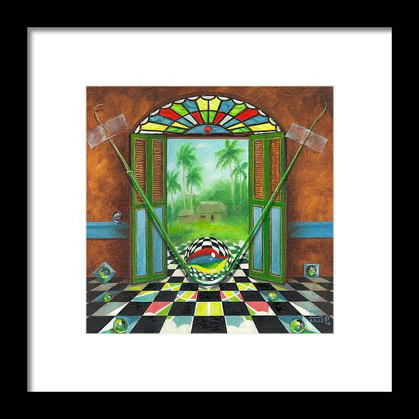 Marbles Framed Print featuring the painting Vitrales Campesino by Roger Calle