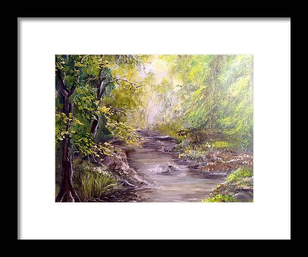 Landscape Framed Print featuring the painting Vitsa River by Petra Ostlings