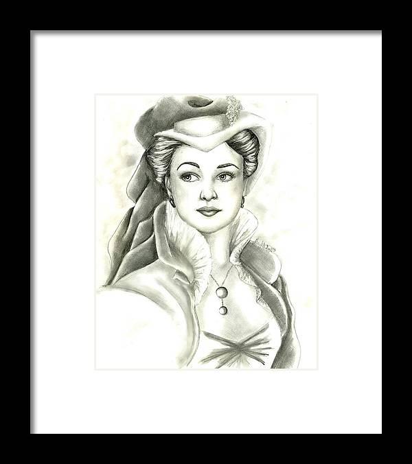 Vivien Lee Framed Print featuring the drawing Vivien by Scarlett Royal