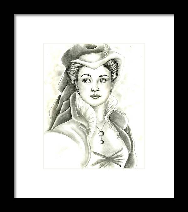 Vivien Lee Framed Print featuring the drawing Vivien by Scarlett Royal